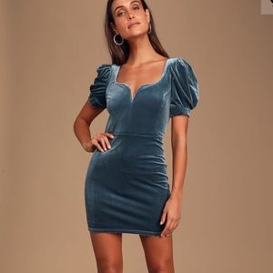 Dusty Blue Velvet Puff Sleeve Bodycon Dress